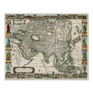 1666 Vintage Map of Asia Poster