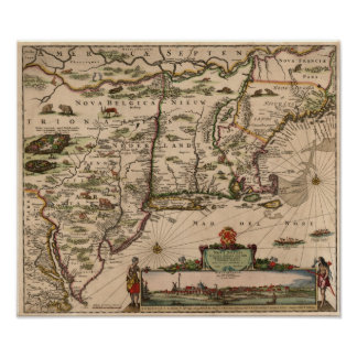 1683 Map of the Colonies Poster