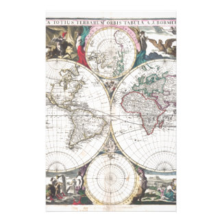 1685 Bormeester Map of the World Personalized Stationery