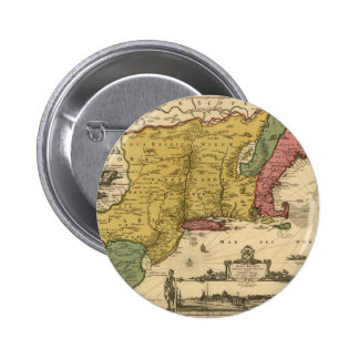 1685 Map - New Belgium, The New World, New England 2 Inch Round Button