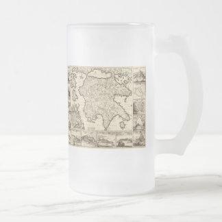 1688 Greece / Greek Peloponnesian Map Frosted Glass Beer Mug