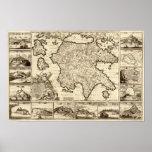 1688 Greece / Greek Peloponnesian Map Poster