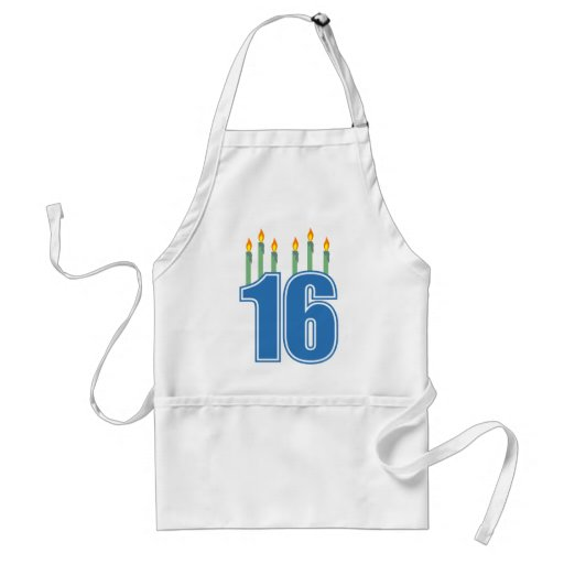 16 Birthday Candles (Blue / Green) Aprons