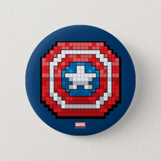 16-Bit Pixelated Captain America Shield 2 Inch Round Button