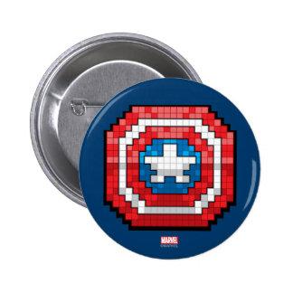 16-Bit Pixelated Captain America Shield 2 Inch Round Button