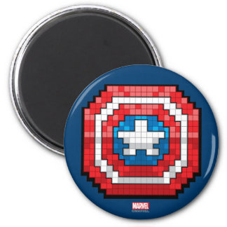 16-Bit Pixelated Captain America Shield 2 Inch Round Magnet