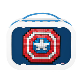 16-Bit Pixelated Captain America Shield Lunchboxes