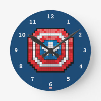 16-Bit Pixelated Captain America Shield Wall Clock