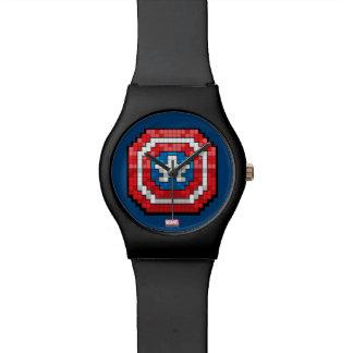 16-Bit Pixelated Captain America Shield Wrist Watch