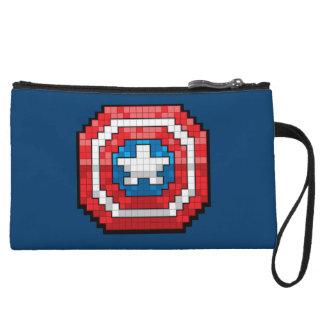 16-Bit Pixelated Captain America Shield Wristlet Clutches