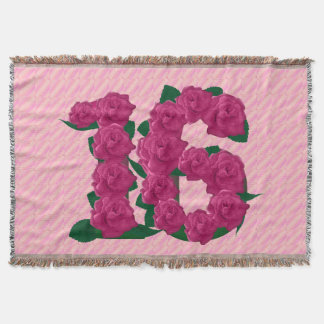 16 cute pink rose flowers 16th birthday blanket