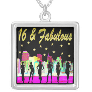 16 & FABULOUS NYC DIVA DESIGN SILVER PLATED NECKLACE