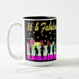 16 & FABULOUS NYC DIVA DESIGN Two-Tone COFFEE MUG