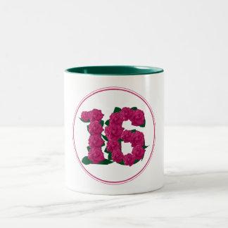 16 Number 16th Birthday Anniversary cute pink mug