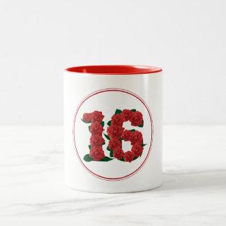 16 Number 16th Birthday Anniversary red mug