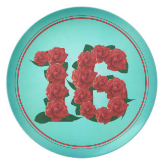 16 number birthday anniversary 16th roses plate