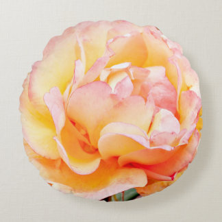 """16"""" Round Peach and Yellow Rose Pillow"""
