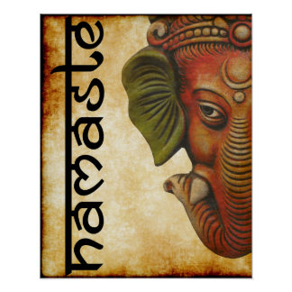 "16""x20"" poster Indian God ganesha namaste design"