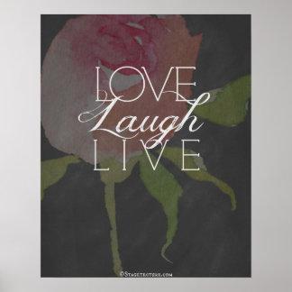 "16""x20"", Poster Love Laugh Live, Rose Chalkboard"