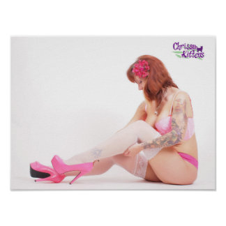 """16"""" x 12"""" Chrissy Kittens Checking My Stockings Poster"""
