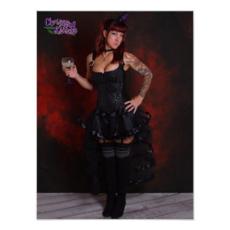 """16"""" x 12"""" Chrissy Kittens Witch In Red Poster"""