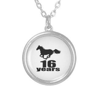 16 Years Birthday Designs Silver Plated Necklace