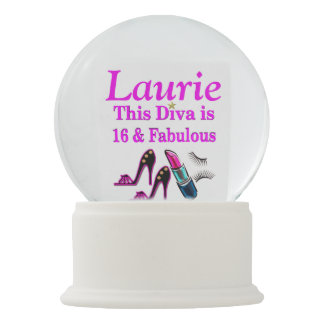 16 YR OLD DIVA PERSONALIZED SNOW GLOBE