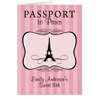 16ème invitation de passeport de bonbon carte de correspondance