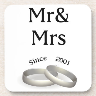 16th anniversary matching Mr. And Mrs. Since 2001 Coaster