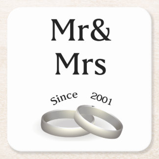 16th anniversary matching Mr. And Mrs. Since 2001 Square Paper Coaster