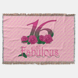 16th birthday 16 and fabulous pink flowers blanket