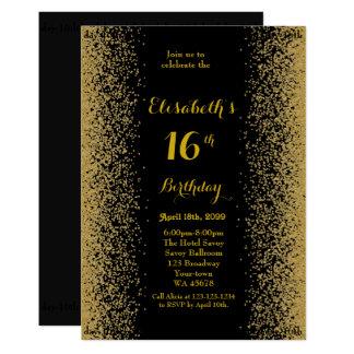 16th,Birthday 16th,Glitter,black gold Card