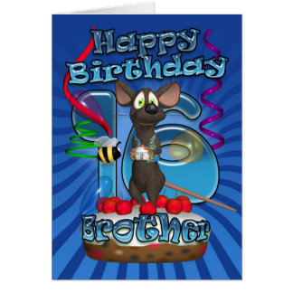 16th Birthday Card For Brother - Funky Mouse On A