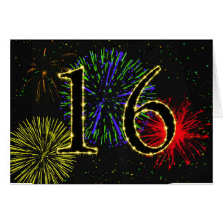 16th Birthday card with fireworks