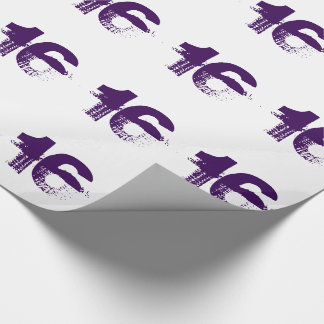 16th birthday for anyone, purple on white. wrapping paper
