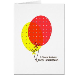 16th Birthday Grandniece Cards, Colorful Balloons Card