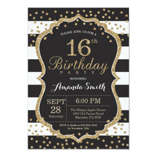 16th Birthday Invitation Black And Gold Glitter Card