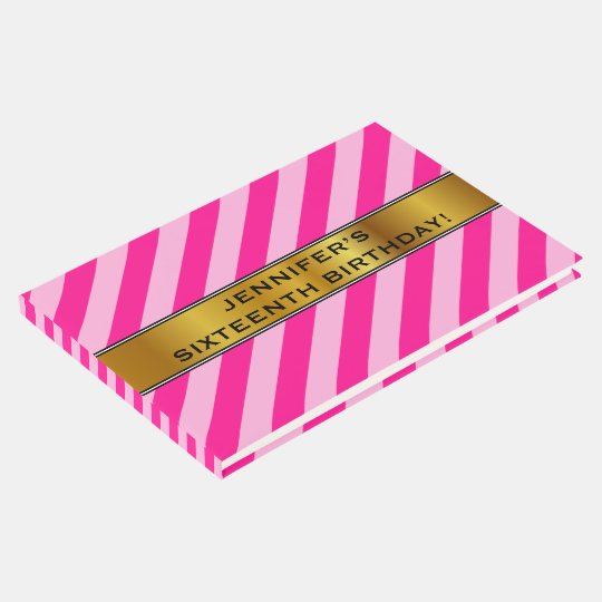 16th Birthday, Light Pink & Deep Pink Stripes Guest Book