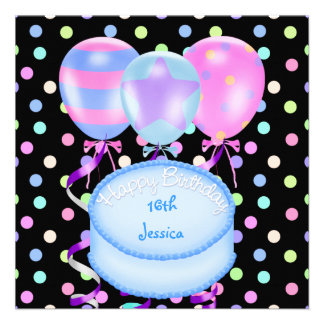 16th Birthday Party Balloons Cake Streamers Personalized Announcement