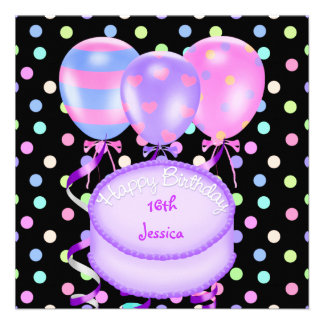 16th Birthday Party Balloons Cake Streamers Invitations