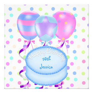 16th Birthday Party Balloons Cake Streamers Personalized Announcements