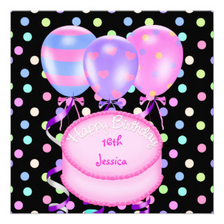 16th Birthday Party Balloons Cake Streamers Custom Announcements