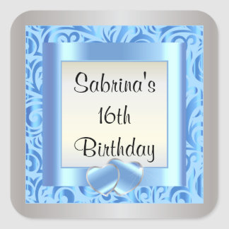 16th Birthday Party | DIY Text | Blue Square Sticker
