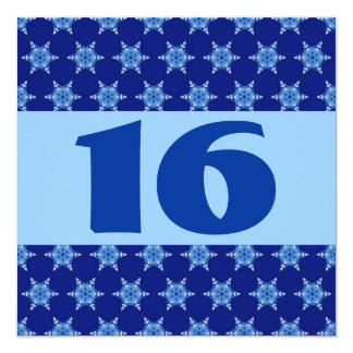 16th Birthday Party Festive Blue Stars W873 Card