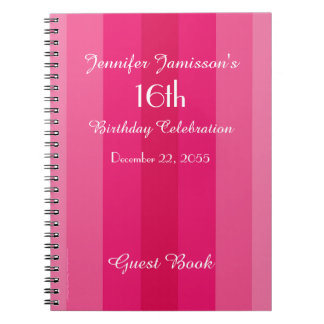 16th Birthday Party Guest Book Pink Stripe