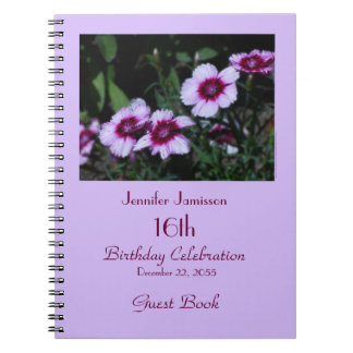 16th Birthday Party Guest Book, Purple Flowers Spiral Notebook