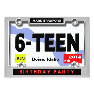 16th BIRTHDAY PARTY INVITATION - LICENSE PLATE