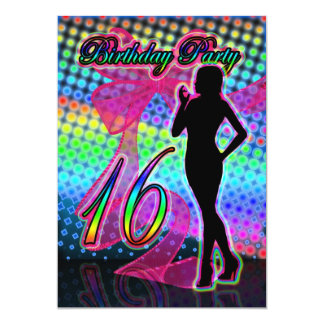 16th Birthday Party Invitation, Neon With Female S Card