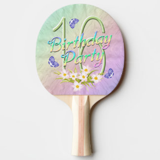 16th Birthday Party Rainbow and Butterflies Ping-Pong Paddle