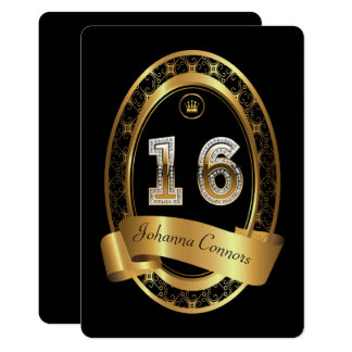 16th,birthday party woman man,elegant color card
